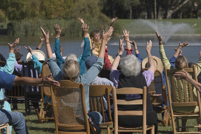 In a scene from 'Seniors Rocking,' Halprin leads 69 seniors in a rocking-chair dance performance.  Courtesy Photos