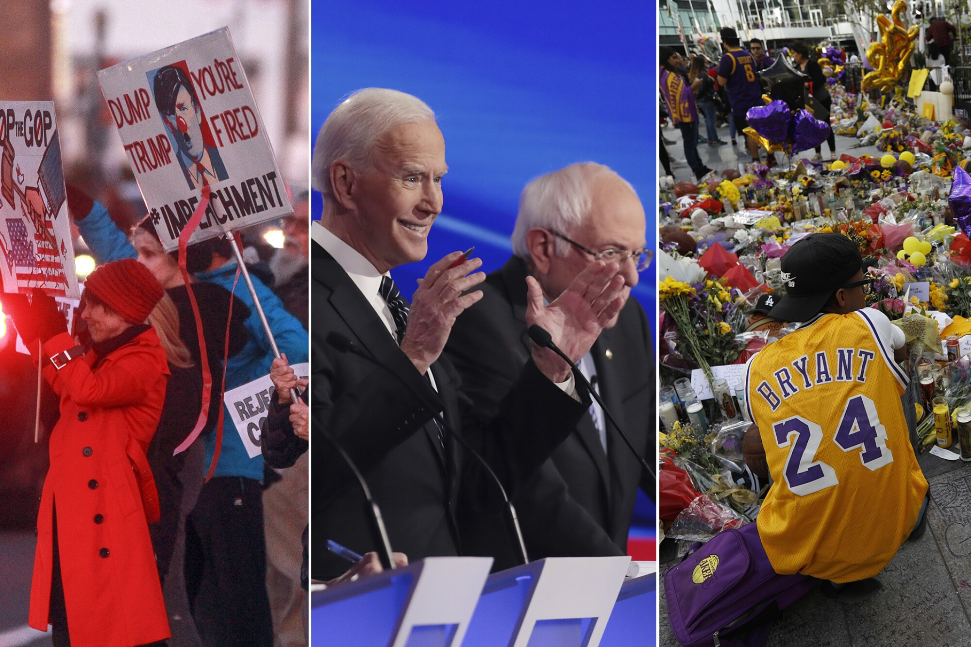 People in San Diego protest the Senate's vote in the impeachment trial of President Trump, former Vice President Joe Biden and Sen. Bernie Senders debate in Des Moines, Iowa, and a makeshift memorial pays tribute to Lakers legend Kobe Bryant at L.A. Live in downtown Los Angeles.