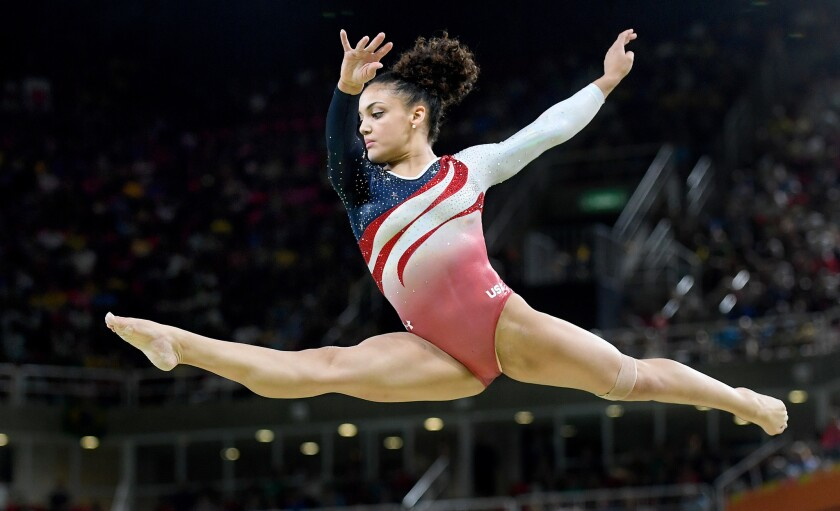 """U.S. gymnast Lauren Hernandez competes on the beam during the team finals at the Rio 2016 Olympics on Aug. 9. Hernandez was caught on camera telling herself """"I got this"""" before a key event in competition."""