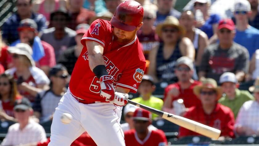 Angels right fielder Kole Calhoun, shown during a game March 15, homered against the Padres on Saturday.
