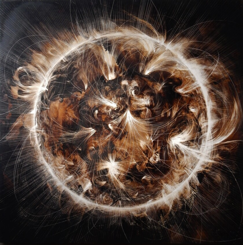 """""""The Radiant Sun"""" a tar on panel painting, by James Griffith, 2019."""