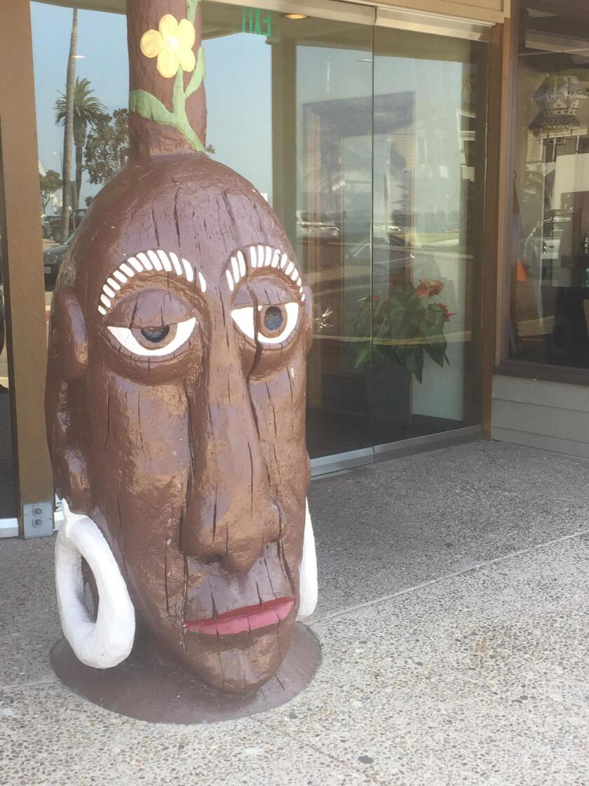 Guarding the front entrance of the Bali Hai restaurant is the iconic Mr. Bali Hai tiki, modeled after early headhunters of the South Pacific.
