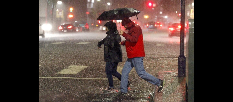 Heavy rain in downtown San Diego