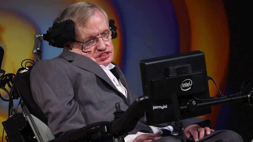 Stephen Hawking talks about his life and work during a public symposium to celebrate his 75th birthday in Cambridge in 2017.