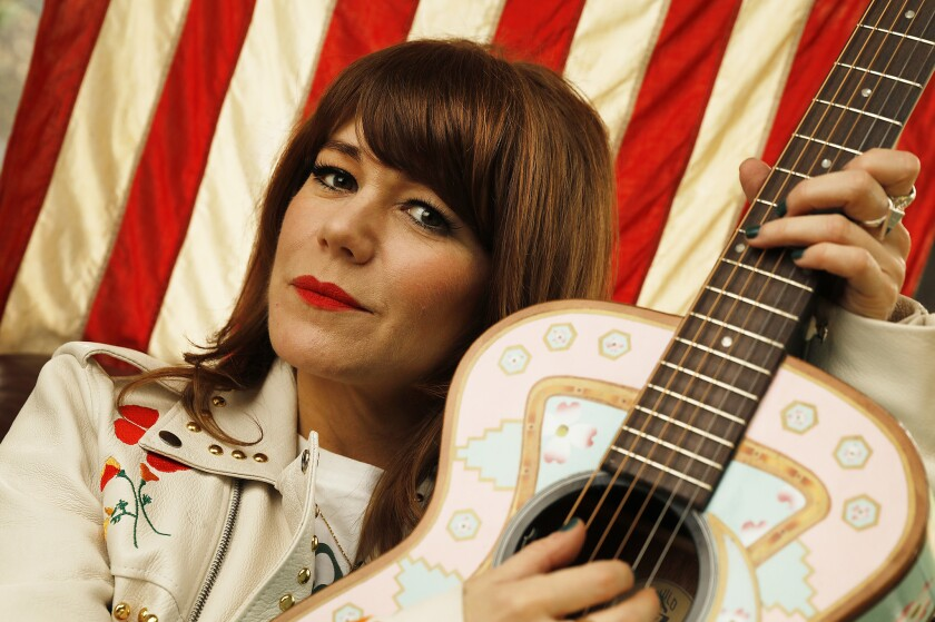 Country-pop-Americana singer-songwriter, musician and actress Jenny Lewis, best known as the lead singer and rhythm guitarist for the indie rock band Rilo Kiley, at her Los Angeles home in February.
