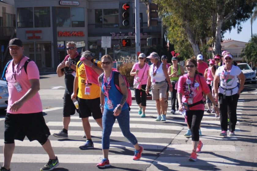 During the Susan G. Komen San Diego 3-Day walk, Nov. 18-20, more than 2,500 people make their way through La Jolla.