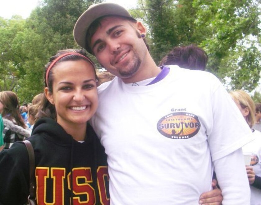 Camille Carter and Grant Wojtczak in 2009 at the Relay for Life event in Poway, prior to Wojtczak's death in 2010.