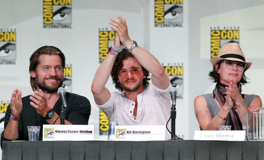 "Nikolaj Coster–Waldau, left, Kit Harington and Lena Headey at the ""Game of Thrones"" panel at Comic-Con in San Diego on July 21, 2011."