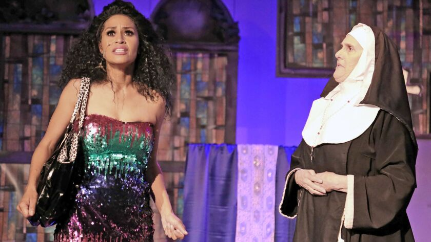"""Melissa Montanez and Kim Peterson star in """"Sister Act"""" at Costa Mesa Playhouse through May 6."""