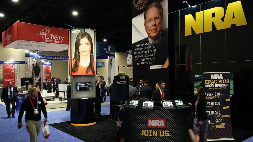 The booth of the National Rifle Assn. is seen during the Conservative Political Action Conference, known as CPAC, on Feb. 22, 2018, in National Harbor, Md.