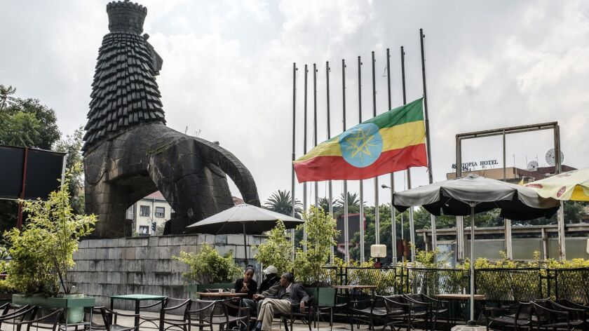 Flags are flying at half-staff in Addis Ababa, Ethiopia, on June 24, 2019, after the weekend killings of officials.