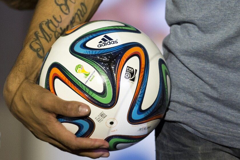 The Adidas Brazuca ball, the 2014 World Cup official soccer ball.