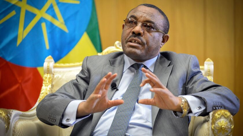Ethiopian Prime Minister Hailemariam Desalegn in his office in Addis Ababa, the capital.