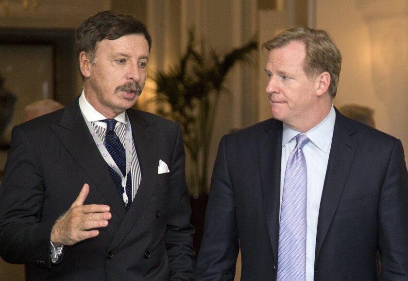 NFL Commissioner Roger Goodell, right, with St. Louis Rams owner and would be L.A. football impresario Stan Kroenke. If you want to know Goodell's salary going forward, you may have to guess.