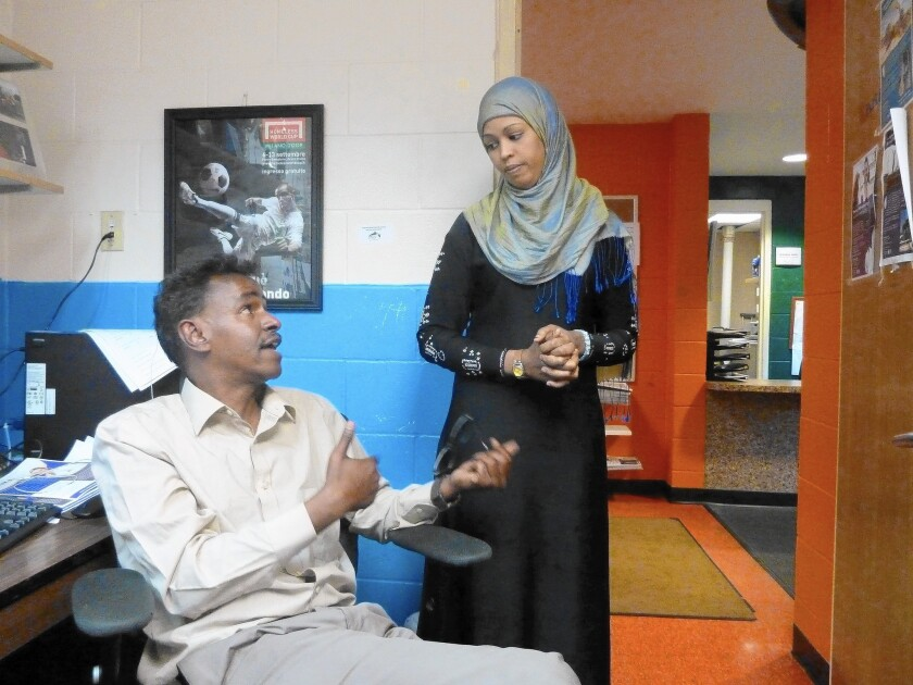 Abdirizak Bihi, with Bosteya Jama, uses athletic programs to help keep Somali American youths in the Twin Cities area from being recruited by Islamist militants abroad.