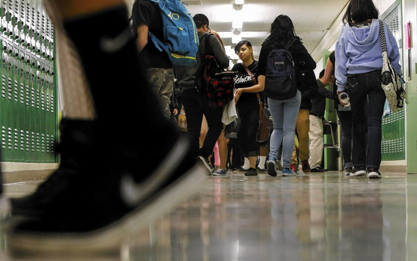 Students move easily through the halls of Belmont High School in downtown Los Angeles. Walking the hallways was once like swimming upstream, former students and teachers said, but after years of efforts to reduce overcrowding, the school has fewer than 1,000 students enrolled.