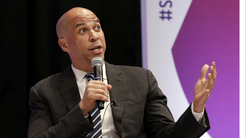 In this April 24, 2019, photo, Democratic presidential candidate Sen. Cory Booker, D-N.J., answers q
