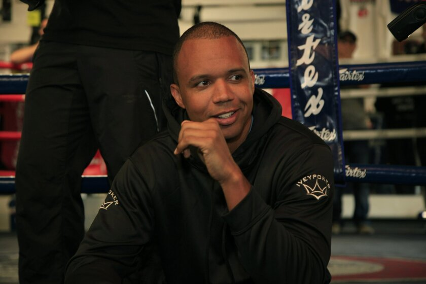 San Diego, Bird Rock CA USA, March 5th, 2014-  Professional poker player Phil Ivey sponsors boxer Dusty Hernandez-Harrison and made an appearance as Dusty trained at the Pacfic Training Center before his fight at Pala Casino on Friday.  David Brooks / U-T San Diego Mandatory Photo Credit: DAVID BRO