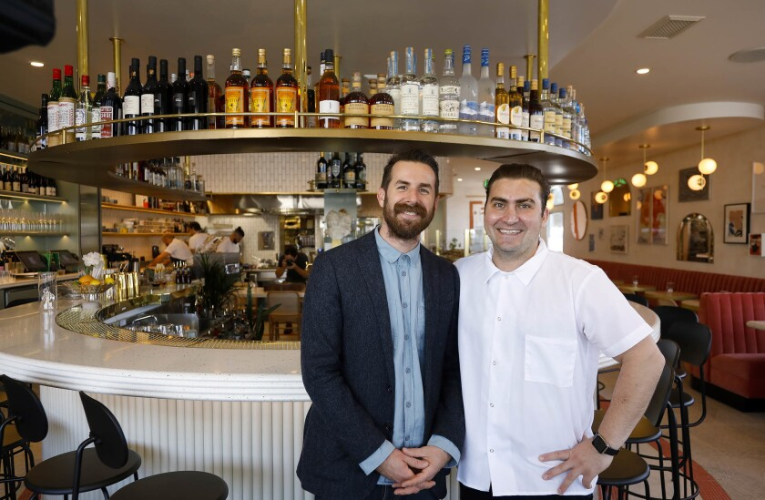 Owner John Resnick and chef Andrew Bachelier inside Jeune et Jolie, a nouvelle French bistro that opened last December in Carlsbad Village. On Nov. 13, it was named by Esquire magazine as one of the top 22 new restaurants in America.