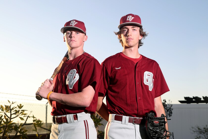 Ocean View High School baseball teammates Jimmy Legg, left, and Max Takacs have both committed to Division 3 schools.