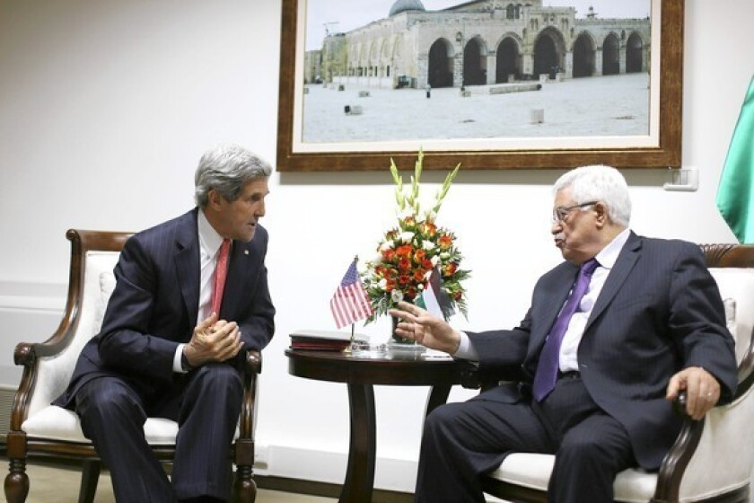 U.S. Secretary of State John F. Kerry meets with Palestinian Authority President Mahmoud Abbas in Ramallah, the West Bank. Kerry also met separately with Israeli officials.