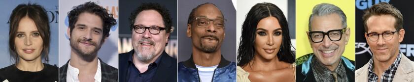 This combination photo of celebrities with birthdays from Oct. 17-23 shows Felicity Jones, from left, Tyler Posey, Jon Favreau, Snoop Dogg, Kim Kardashian West, Jeff Goldblum and Ryan Reynolds. (AP Photo)
