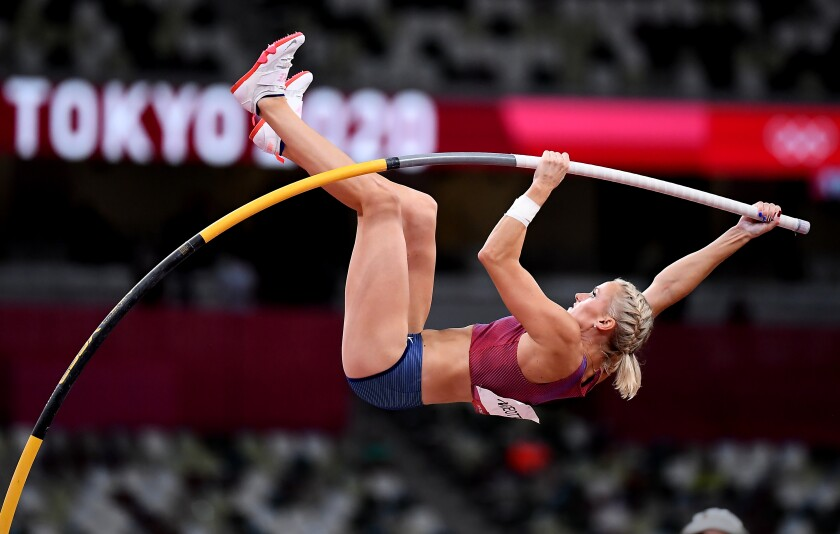 -TOKYO,JAPAN August 5, 2021: USA's Katie Nageotte wins the gold medal.
