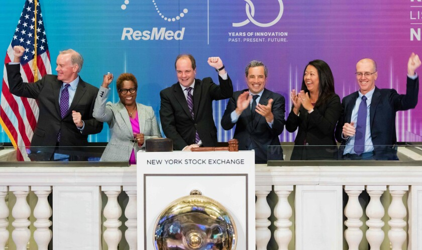 ResMed CEO Michael Farrell, of San Diego, rang the NYSE opening bell on Monday, Sept. 30, 2019. From left, ResMed CAO David Pendarvis, Key Account Manager Tracey Chamberlain, Farrell, NYSE VP Chris Taylor, ResMed Investor Relations V.P. Amy Wakeham and COO Rob Douglas.