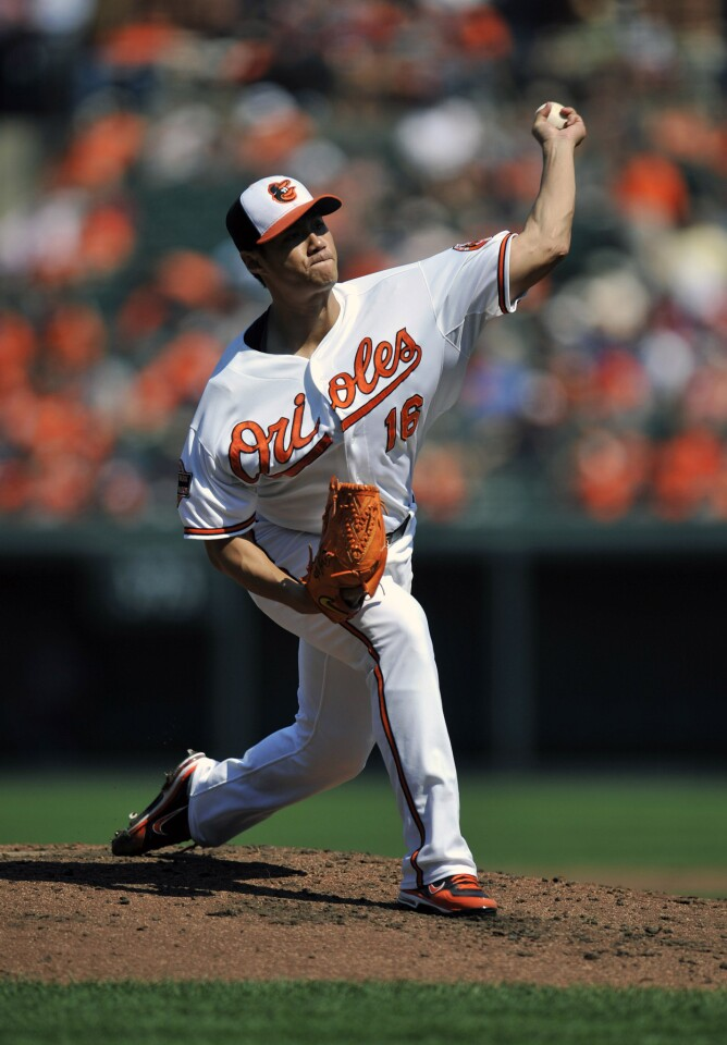 It was a rare week when the starting rotation did not really step up in the way it has throughout the season. Six different Orioles pitchers made starts and not one of them recorded a victory, though Wei-Yin Chen (pictured) pitched very well against the Rays and both Miguel Gonzalez and Joe Saunders delivered quality starts. Overall, the rotation was a combined 0-2 with a 4.35 ERA. Not what we've come to expect, but the Orioles couldn't have won four of six games last week without those guys, who have been pulling big performances out of their hats all season. Grade: C