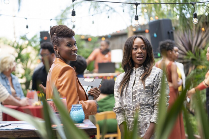 "Issa Rae, left, and Yvonne Orji in HBO's ""Insecure."""