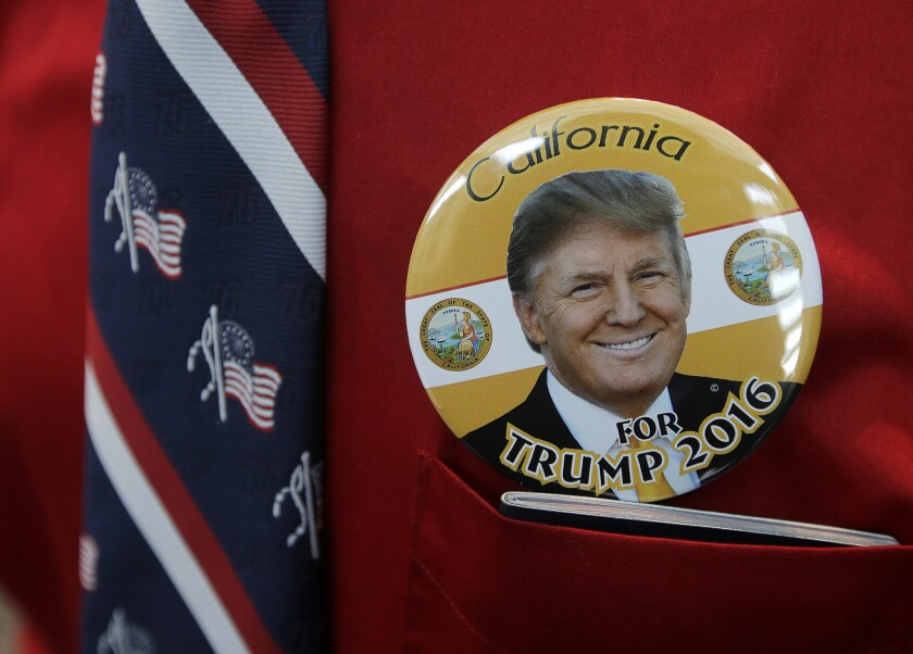 Donald Trump buttons were a hot item at the California Republican Party convention on April 29, 2016.