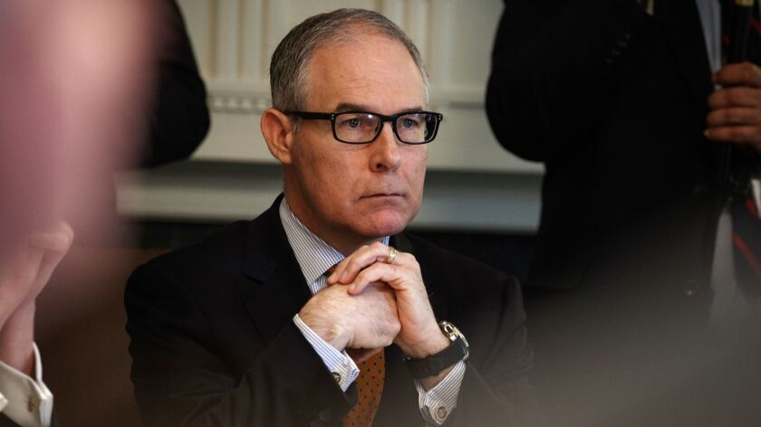 Environmental Protection Agency administrator Scott Pruitt listens as President Donald Trump speaks during a cabinet meeting at the White House on June 21.