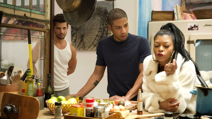 """""""Empire"""" is a radiant showcase of strong, complicated and modern archetypes, splendidly performed, and constantly rearranged in dazzling display. Taraji P. Henson, right, is pictured with Jussie Smollett, center."""