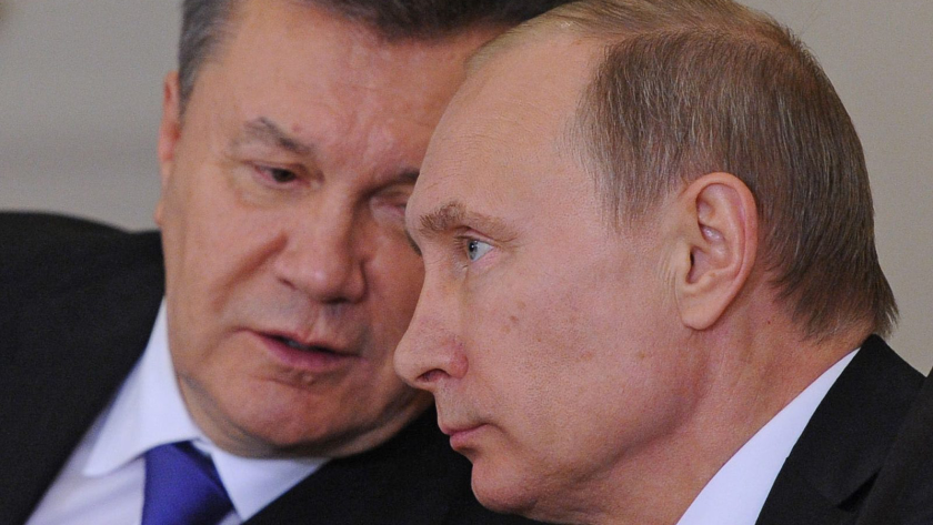 President Vladimir Putin, right, and Ukrainian President Victor Yanukovich, attend a press conference after the Russian-Ukrainian Interstate Commission at the Kremlin in Moscow.