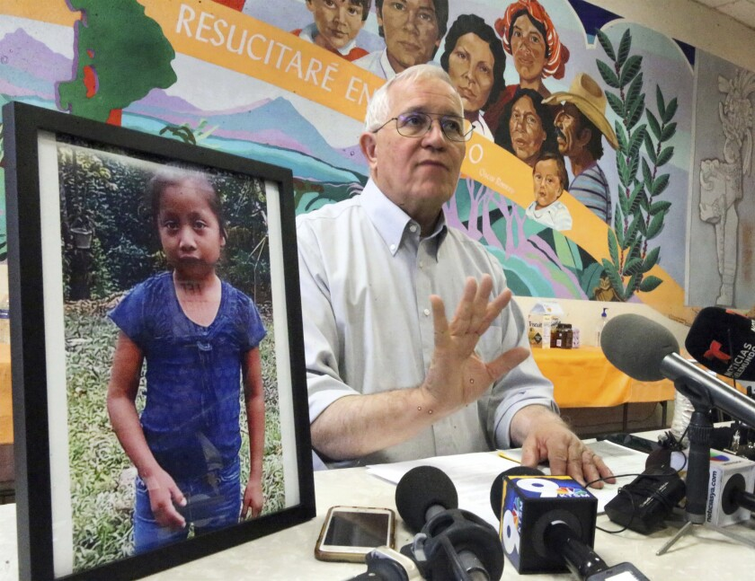 Ruben Garcia, director of Annunciation House, answers media questions in El Paso in December after reading a statement from the family of Jakelin Caal Maquin.