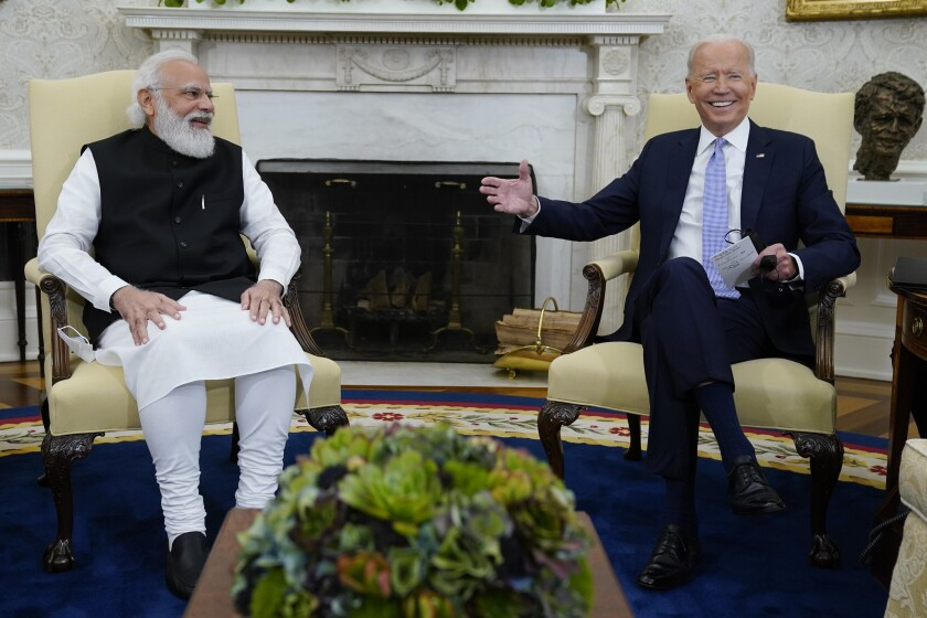 President Joe Biden meets with Indian Prime Minister Narendra Modi in the Oval Office of the White House, Friday, Sept. 24, 2021, in Washington. (AP Photo/Evan Vucci)
