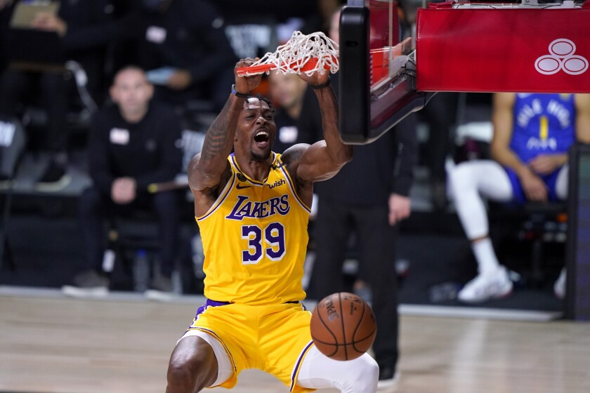Lakers center Dwight Howard finishes off an alley-oop dunk during Game 1.