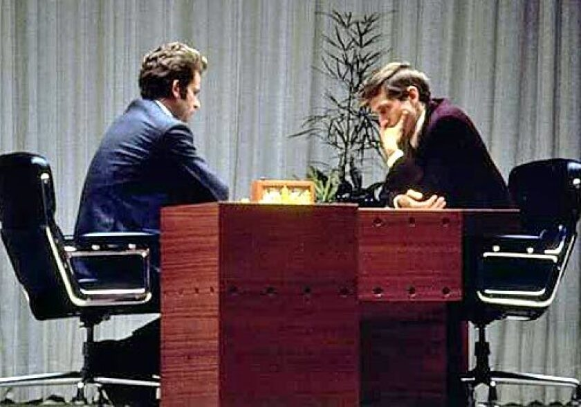 Bobby Fischer, right, and Boris Spassky compete in Reykjavik, Iceland, in August 1972.