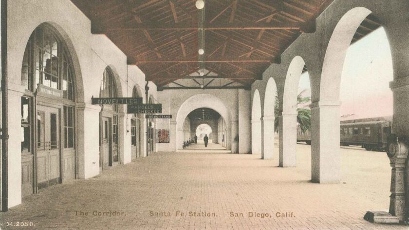 The colonnade along the track side of the depot remains largely unchanged from its original look in