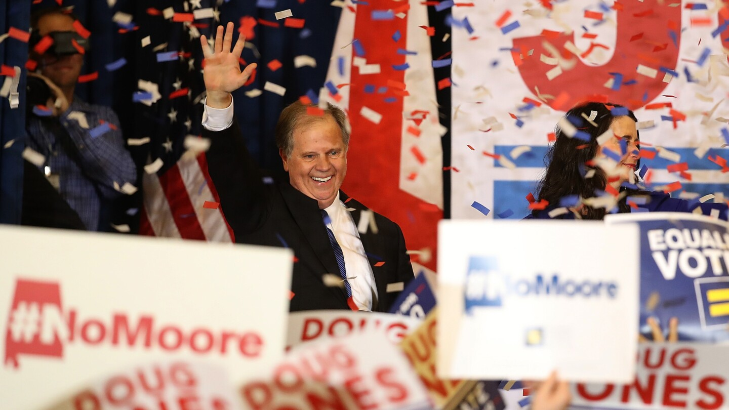 Democratic Sen.-elect Doug Jones greets supporters during his election night party at the Sheraton Hotel in Birmingham after defeating Republican candidate Roy Moore in Alabama.