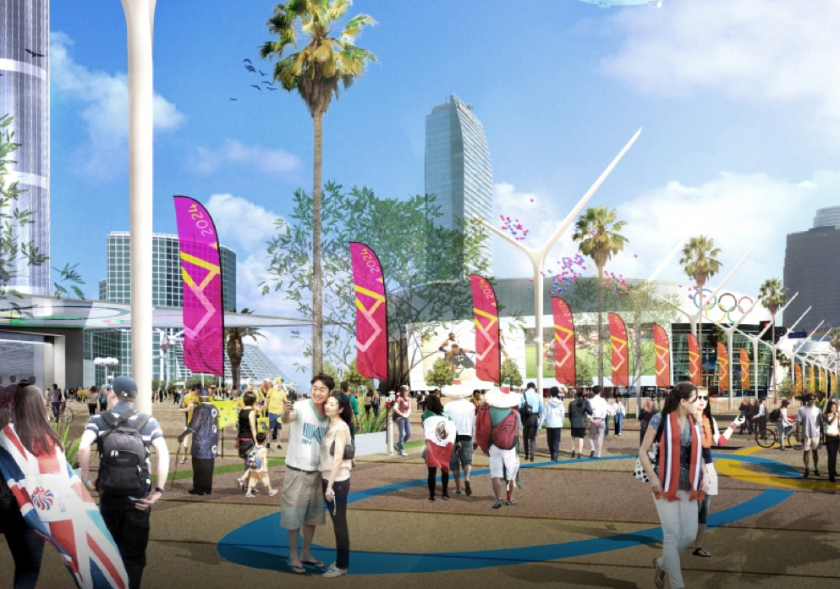Artist's rendering of the proposed 2024 Olympic Way between the convention center and the coliseum.