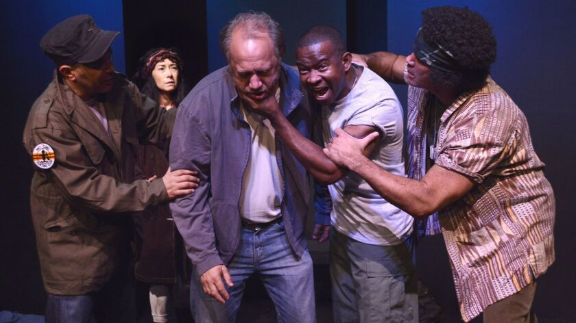 "Mark Adair Rios, Lorna Duyn, Scott Krinsky, Tony Williams and Laurence Dillard in the play ""Raw Open"
