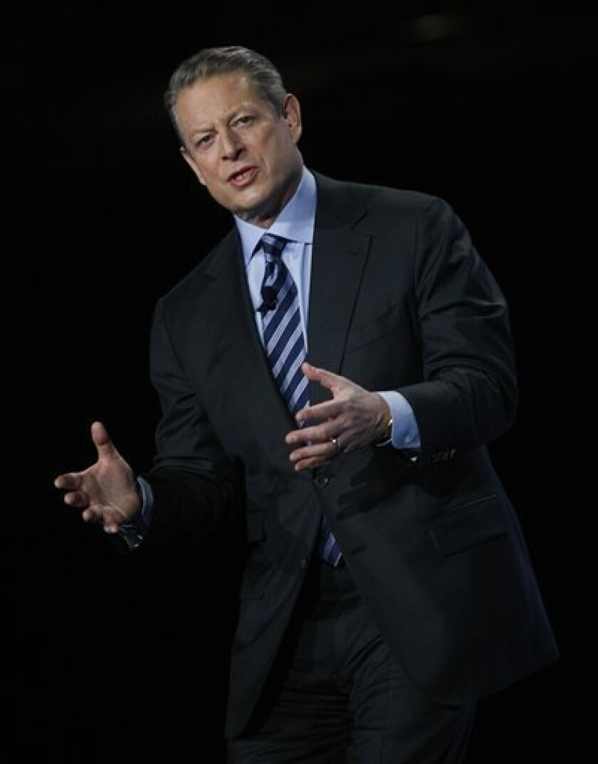 FILE - In this Nov. 11, 2009 file photo, former Vice President Al Gore speaks during the Greenbuild International Conference and Expo in Phoenix. Oregon authorities are reopening an investigation into a massage therapist's allegations that former Vice President Al Gore groped her at a hotel four years ago. (AP Photo/Rick Scuteri, File)