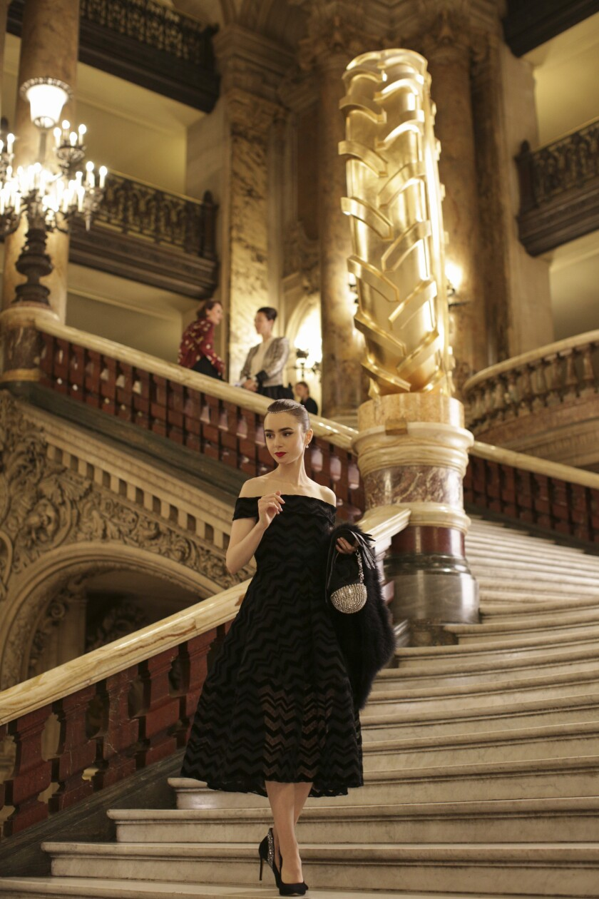 """Lily Collins at the Paris Opera in """"Emily in Paris."""""""