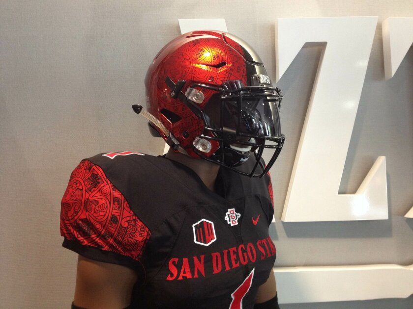 The new Aztecs football uniforms revealed on Tuesday feature an ancient Aztec calendar on the helmet, jersey and pants.