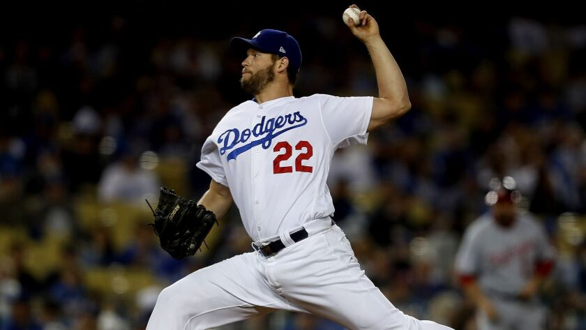 LOS ANGELES, CALIF. - APR. 20, 2018. Dodgers starter Clayton Kershaw delivers a pitch against the N