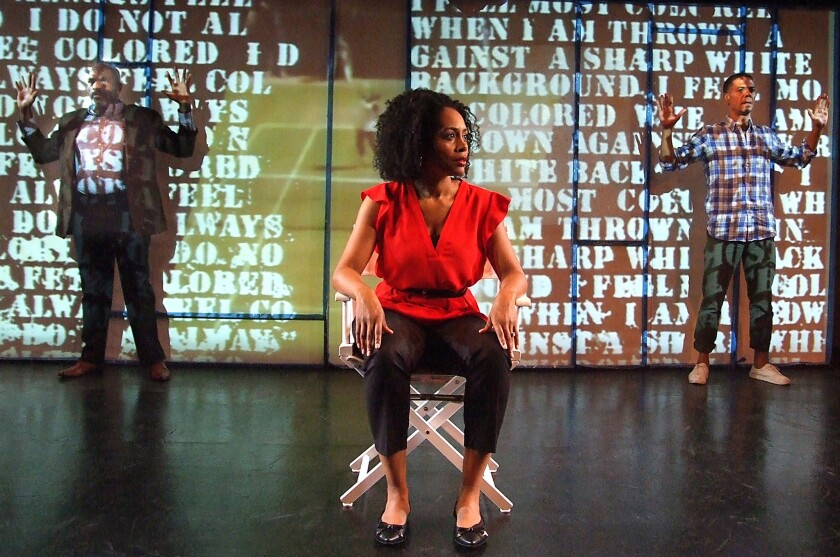 """Bernard K. Addison, left, Simone Missick and Leith Burke in a scene from """"Citizen: An American Lyric"""" at the Fountain Theatre."""