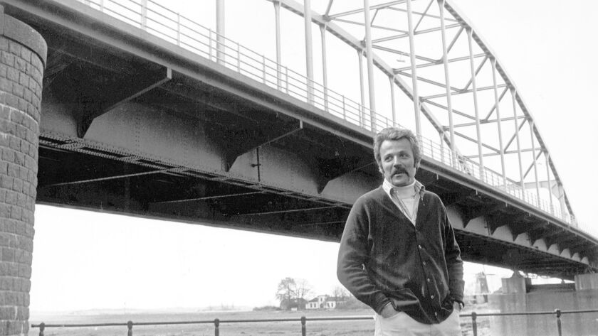 """William Goldman in Holland during filming of """"A Bridge Too Far,"""" the 1977 epic whose script he wrote."""