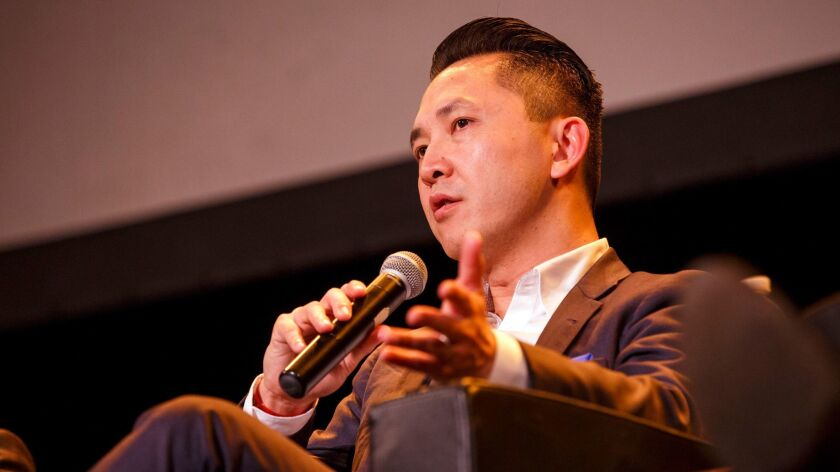 Viet Thanh Nguyen speaks at the Pulitzer centennial celebration in Los Angeles
