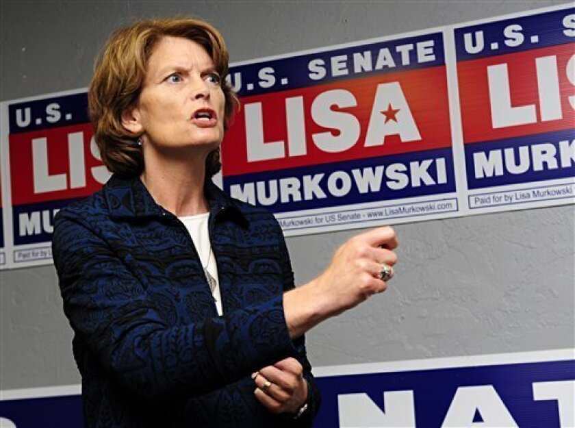 FILE - In this file photo from Sept. 24, 2010, Alaska's Republican U.S. Senator Lisa Murkowski addresses a group of supporters at her new Juneau, Alaska campaign headquarters. Murkowski is on the cusp of vindication. A win as a write-in candidate would send her back to Washington, to the colleagues and party leaders who turned their backs following her humiliating primary loss to tea party favorite Joe Miller. The question some Alaskans have, though, is how would she legislate? (AP Photo/Chris Miller)